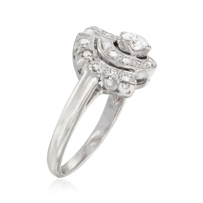 C. 1950 Vintage .55 ct. t.w. Diamond Swirl Ring in 14kt White Gold