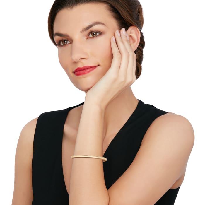 "Roberto Coin ""Symphony"" Princess .17 ct. t.w. Diamond-Studded Bangle Bracelet in 18kt Yellow Gold"