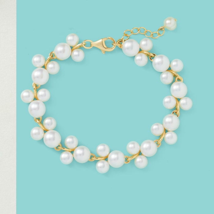 5-7.5mm Cultured Pearl Trio Bracelet in 18kt Gold Over Sterling Silver
