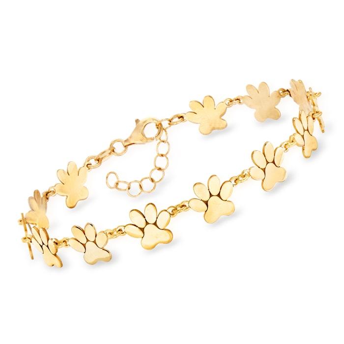Italian 18kt Gold Over Sterling Paw Print Bracelet