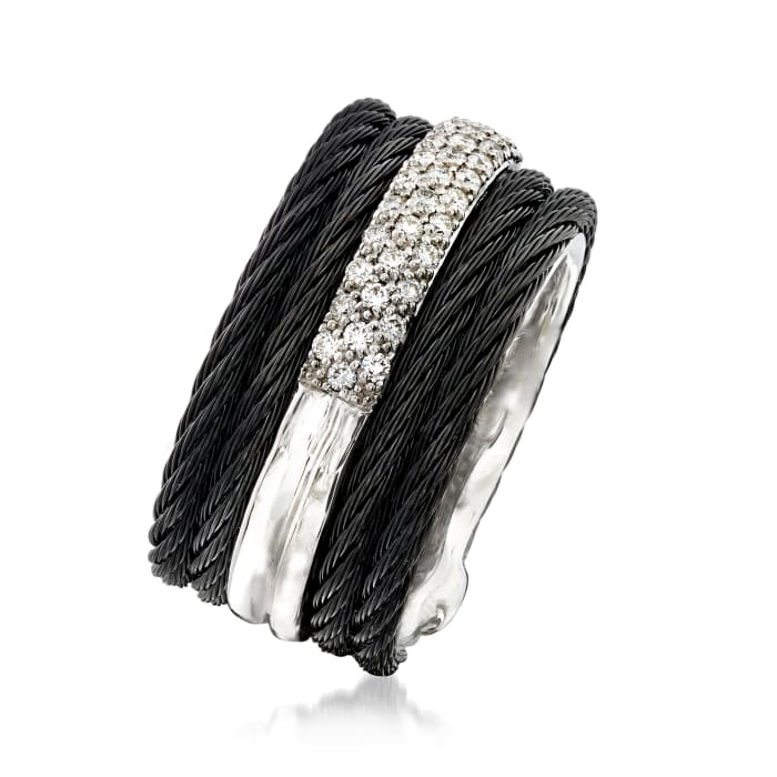 "ALOR ""Noir"" .28 ct. t.w. Diamond Black Stainless Steel Cable Ring with 18kt White Gold"