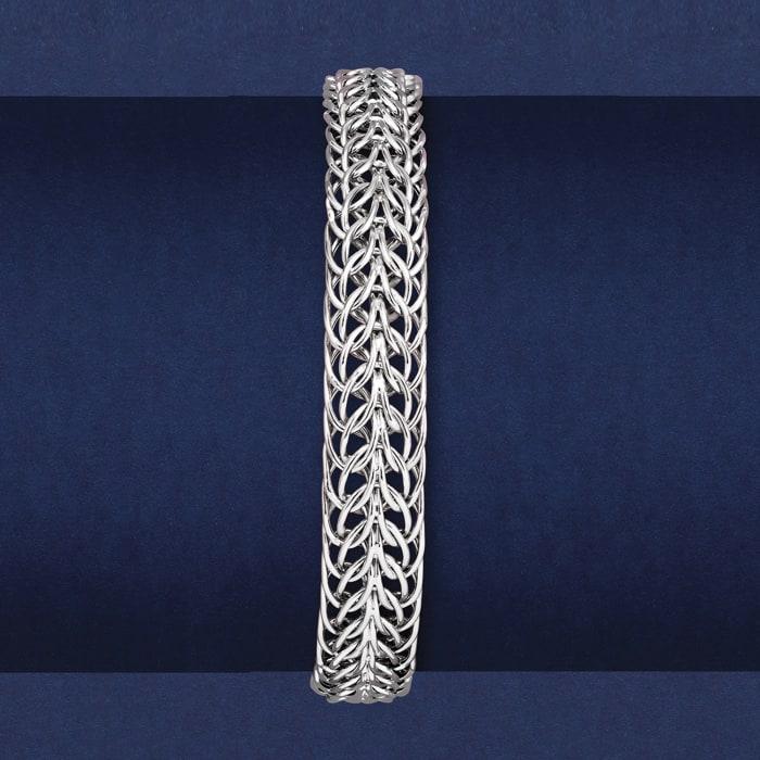 14kt White Gold Double Flat-Wheat Link Bracelet