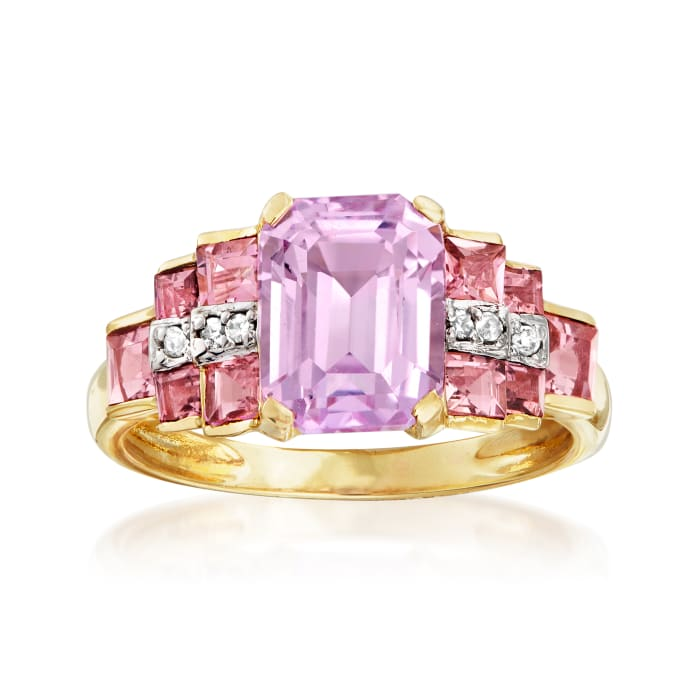 3.00 Carat Kunzite and 1.10 ct. t.w. Tourmaline Ring in 14kt Yellow Gold