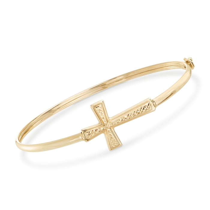 14kt Yellow Gold Sideways Cross Bangle Bracelet