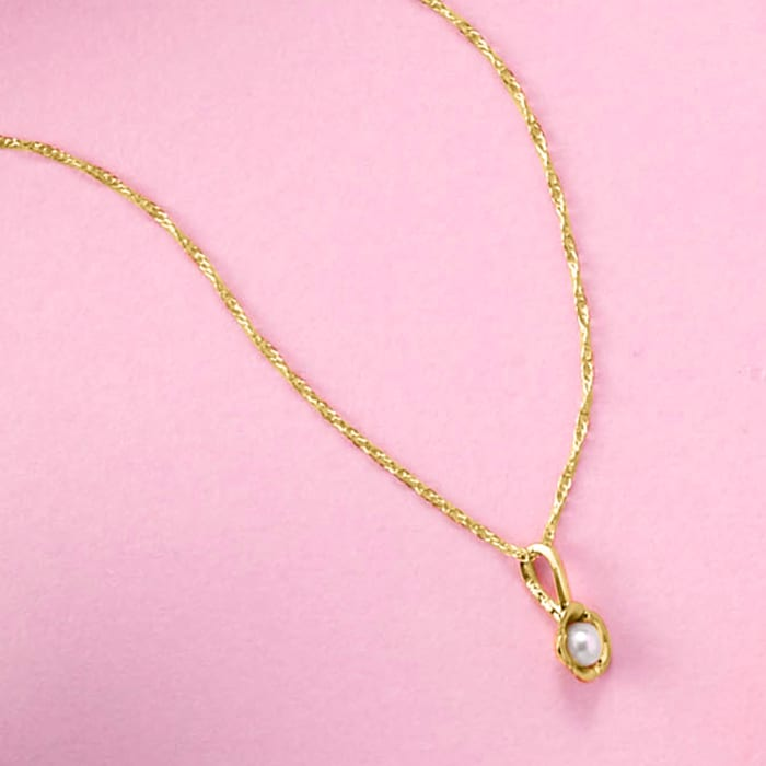 Child's 2.5mm Cultured Pearl Flower Pendant Necklace in 14kt Yellow Gold