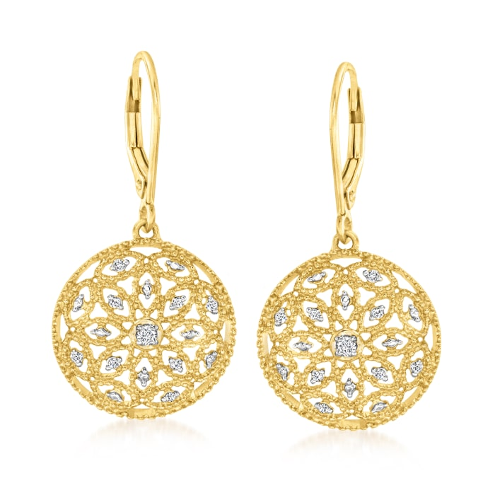 .10 ct. t.w. Diamond Circle Drop Earrings in 18kt Gold Over Sterling