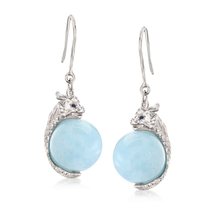 25.00 ct. t.w. Milky Aquamarine and .10 ct. t.w. Sapphire Dragon Drop Earrings in Sterling Silver