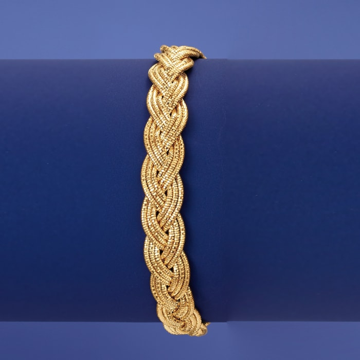 Italian 18kt Gold Over Sterling Braided Omega Bracelet