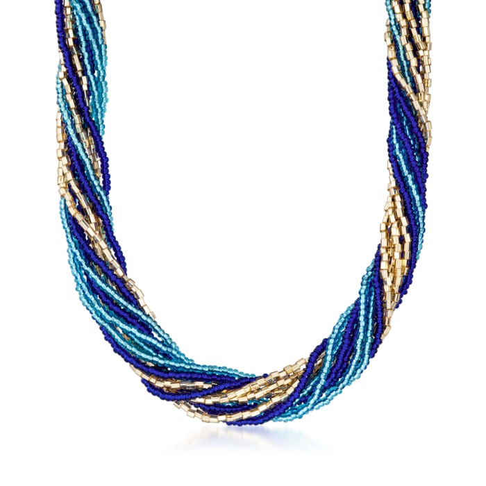Italian Blue and Golden Murano Glass Bead Torsade Necklace with 18kt Gold Over Sterling