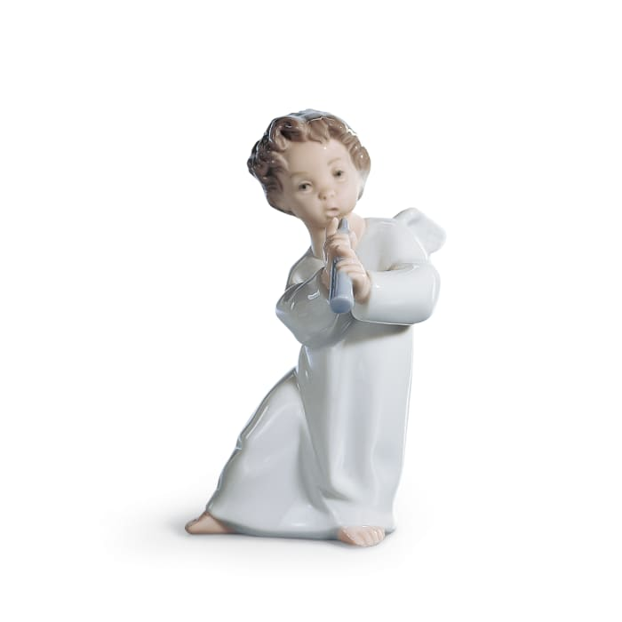 "Lladro ""Angel with Horn"" Porcelain Figurine"