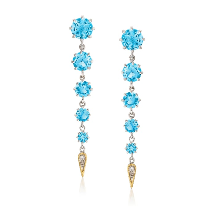 """Andrea Candela """"Fugaz"""" 11.00 ct. t.w. Blue Topaz and Diamond Earrings in 18kt Gold and Sterling"""