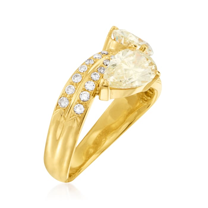 C. 1990 Vintage 2.97 ct. t.w. Diamond Bypass Ring in 18kt Yellow Gold