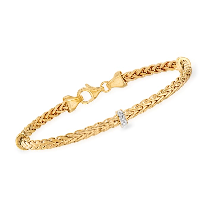 """Phillip Gavriel """"Woven"""" Station Bracelet with Diamond Accents in 14kt Yellow Gold"""