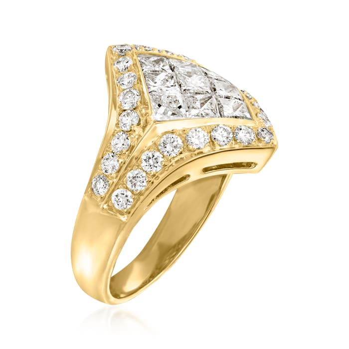 C. 1980 Vintage 2.56 ct. t.w. Diamond Fashion Ring in 18kt Yellow Gold