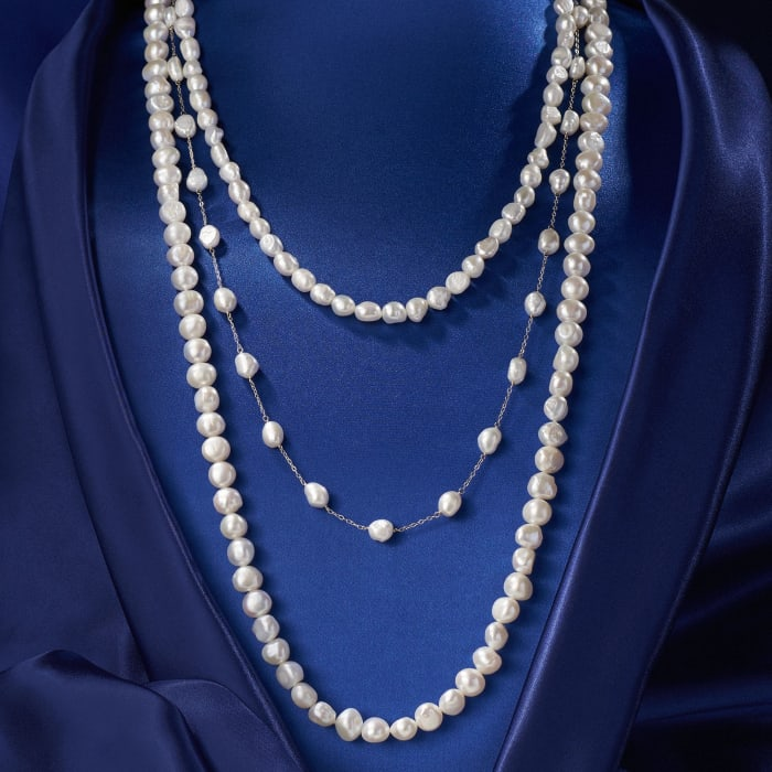 7-10mm Cultured Semi-Baroque Pearl Jewelry Set: Three Endless Necklaces with 14kt Yellow Gold