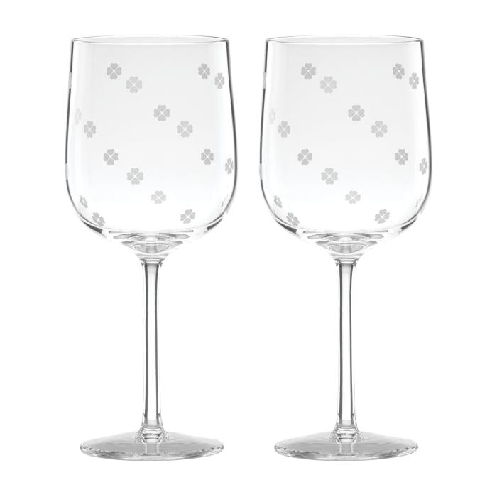 "Kate Spade New York ""Spade Clover"" Set of 2 Wine Glasses"