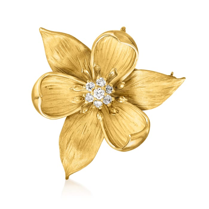 C. 1970 Vintage .50 ct. t.w. Diamond Flower Pin in 18kt Yellow Gold