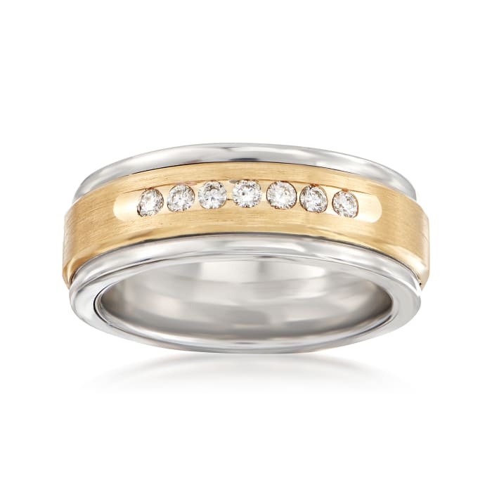 Men's .24 ct. t.w. Diamond Wedding Ring in 14kt Yellow Gold and Tungsten Carbide