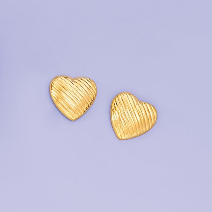 14kt Yellow Gold Textured Heart Stud Earrings