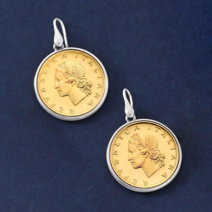 Italian Genuine 20-Lira Coin Drop Earrings in Sterling Silver