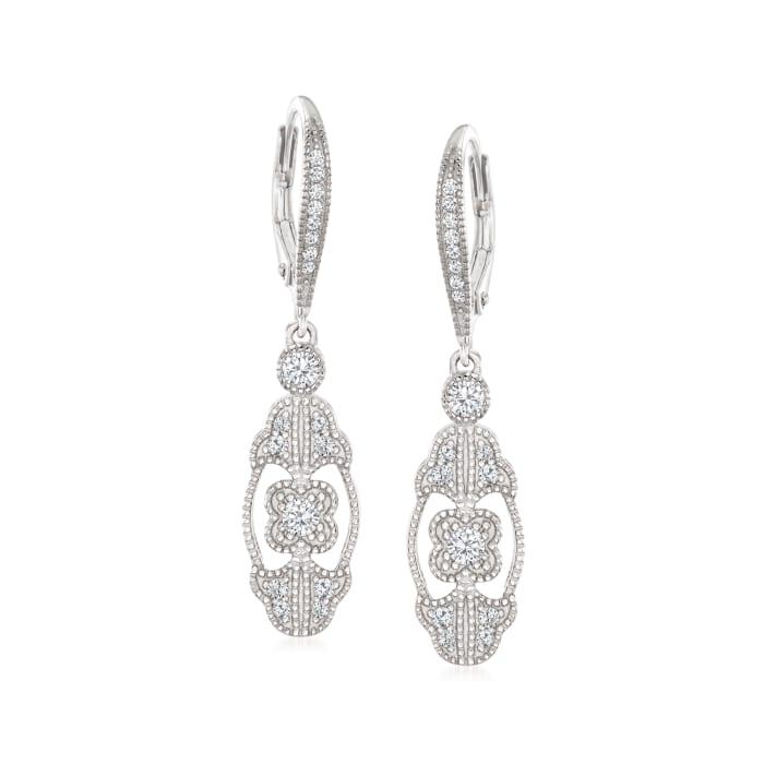 1.14 ct. t.w. CZ Drop Earrings in Sterling Silver