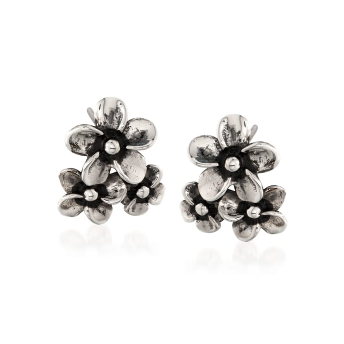 """Zina Sterling Silver """"Hibiscus"""" Floral Cluster Earrings"""