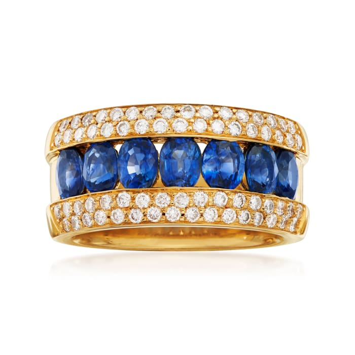 C. 1990 Vintage 1.40 ct. t.w. Sapphire and .66 ct. t.w. Pave Diamond Ring in 18kt Yellow Gold