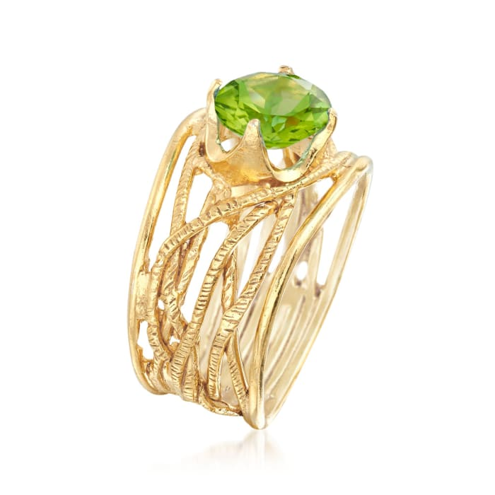 1.90 Carat Peridot Textured Openwork Ring in 18kt Gold Over Sterling