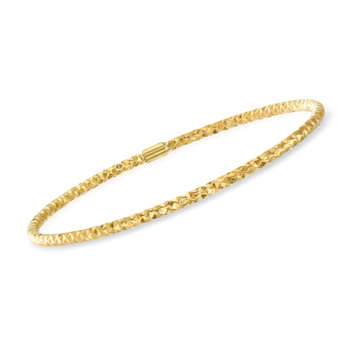 Italian 14kt Yellow Gold Hammered Bangle Bracelet