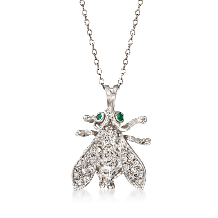C. 1970 Vintage .65 ct. t.w. Diamond Fly Pendant Necklace with Emerald Accents in 10kt White Gold
