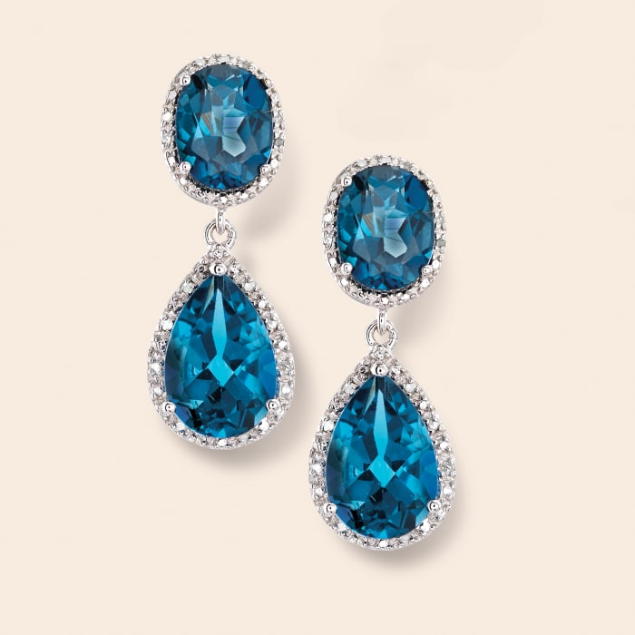 11.00 ct. t.w. London Blue Topaz and .14 ct. t.w. Diamond Drop Earrings in Sterling Silver