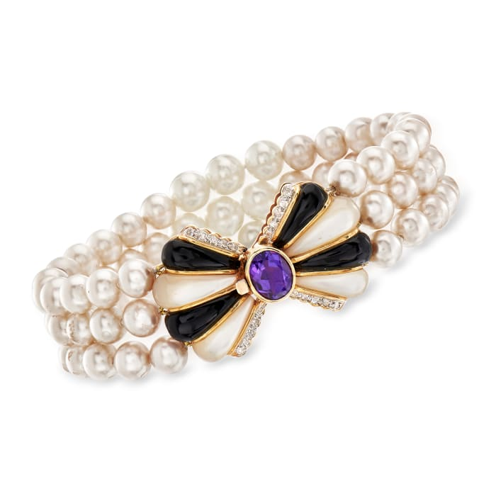 C. 1980 Vintage Cultured Pearl, Mother-Of-Pearl and 2.00 Carat Amethyst Three-Strand Bracelet with Black Onyx and .20 ct. t.w. Diamonds in 14kt Yellow Gold
