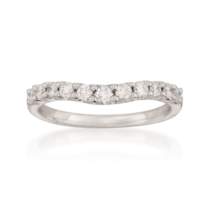 .50 ct. t.w. Curved Diamond Wedding Ring in 14kt White Gold