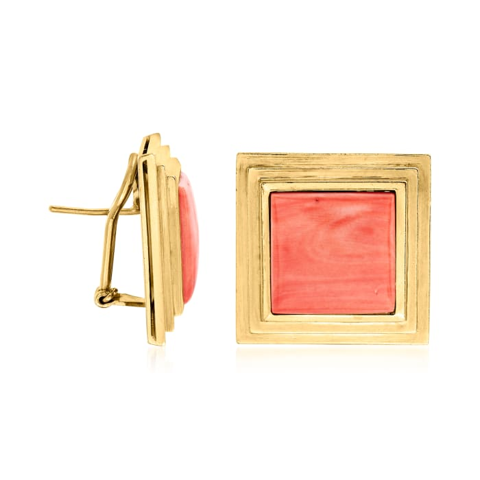 C. 1970 Vintage Red Coral and 18kt Yellow Gold Square Earrings