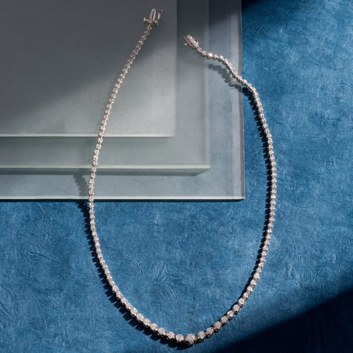 5.00 ct. t.w. Diamond Graduated Tennis Necklace in 14kt White Gold