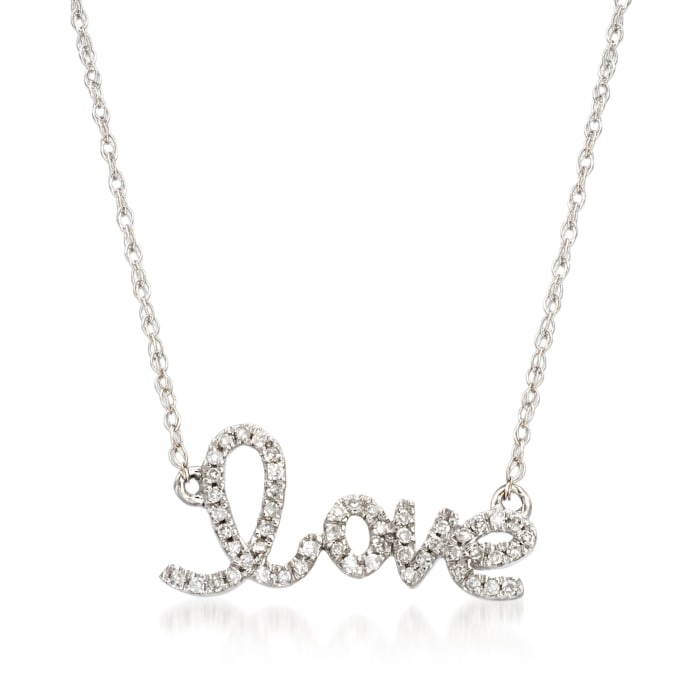 """.10 ct. t.w. Diamond """"Love"""" Necklace in 14kt White Gold"""