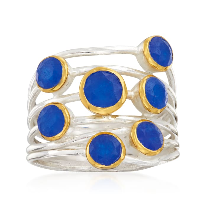 2.40 ct. t.w. Blue Quartz Ring in Sterling Silver and 18kt Gold Over Sterling