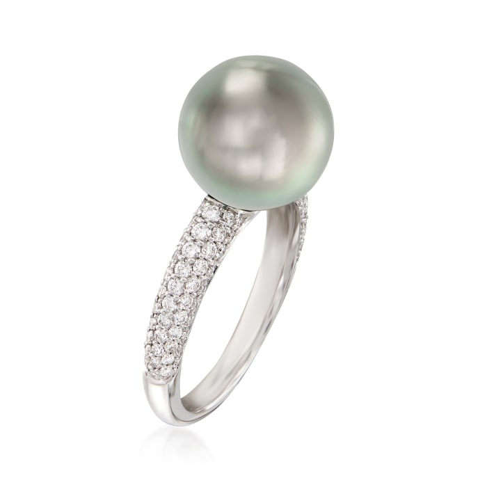"""Mikimoto """"Classic"""" 11mm A+ South Sea Pearl and .66 ct. t.w. Diamond Ring in 18kt White Gold"""