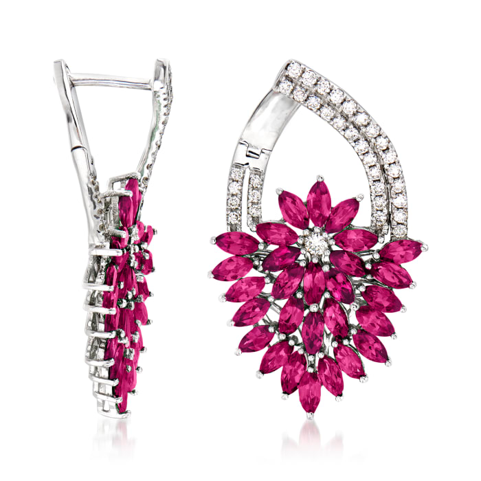 5.00 ct. t.w. Ruby and .62 ct. t.w. Diamond Floral Drop Earrings in 14kt White Gold