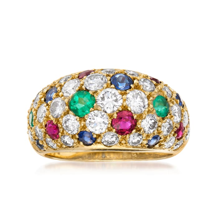 C. 1990 Vintage 1.80 ct. t.w. Diamond and 1.10 ct. t.w. Multi-Gemstone Pave Ring in 18kt Yellow Gold
