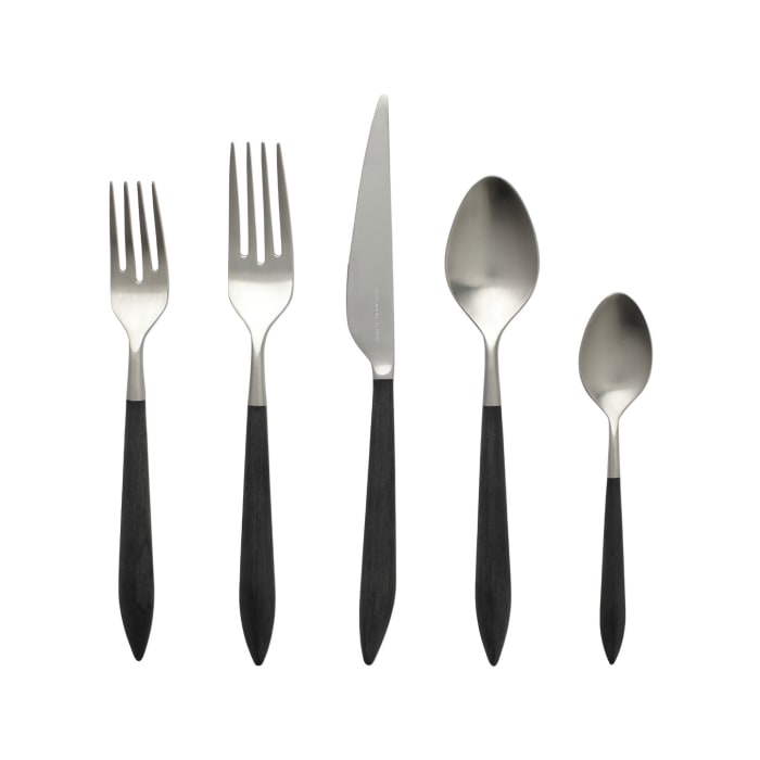 "Vietri ""Ares Argento"" Black 5-pc. 18/10 Stainless Steel Place Setting from Italy"