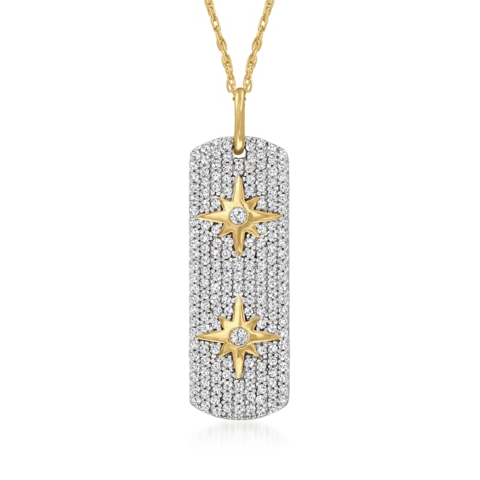 .40 ct. t.w. Diamond Double-Sided Star Tag Pendant Necklace in 18kt Gold Over Sterling