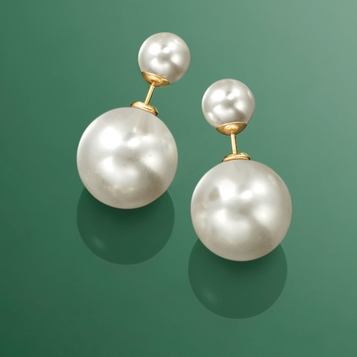 8-16mm Shell Pearl Front-Back Earrings in 14kt Yellow Gold