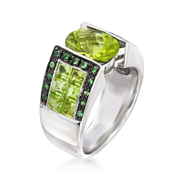 5.00 ct. t.w. Peridot and .20 ct. t.w. Tsavorite Ring in Sterling Silver