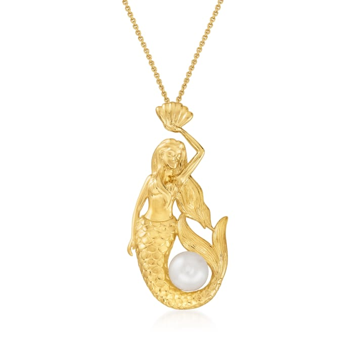 8.5-9mm Cultured Pearl Mermaid Pendant Necklace in 18kt Gold Over Sterling