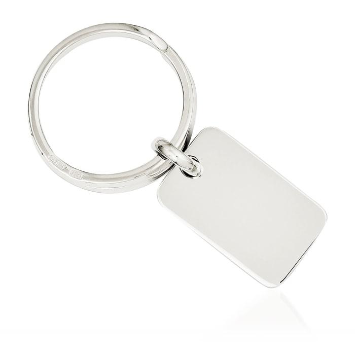 Sterling Silver  Rectangular Engravable Key Ring