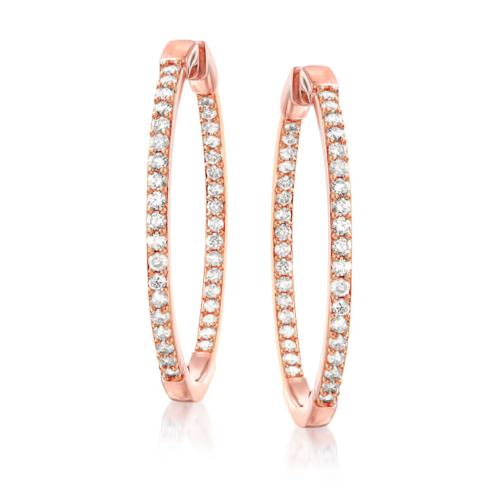 2.00 ct. t.w. Diamond Inside-Outside Hoop Earrings in 18kt Rose Gold Over Sterling Silver