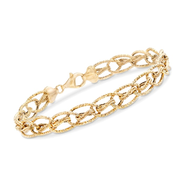 14kt Yellow Gold Textured Oval Interlocking Link Bracelet