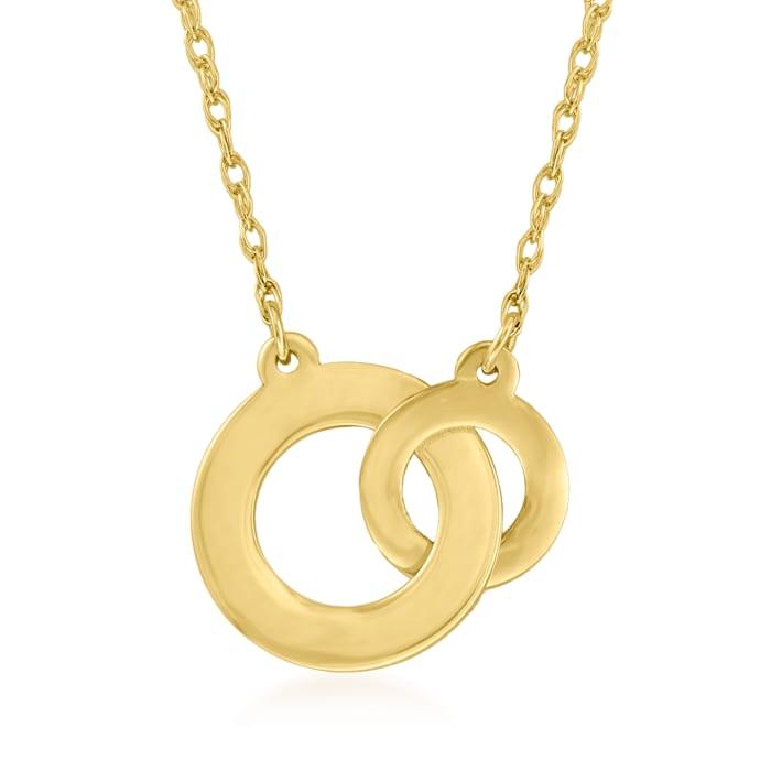 14kt Yellow Gold Interlocking-Circle Necklace
