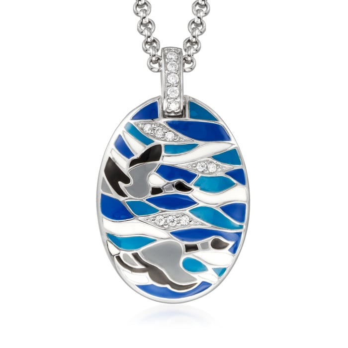 """Belle Etoile """"Migration"""" Enamel and .20 ct. t.w. CZ Pendant in Sterling Silver"""